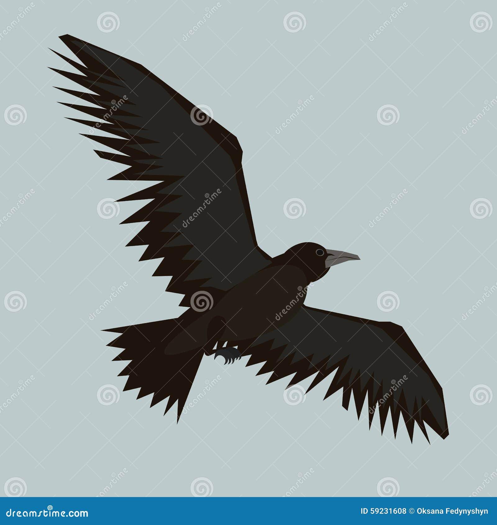 Cuervo negro que vuela