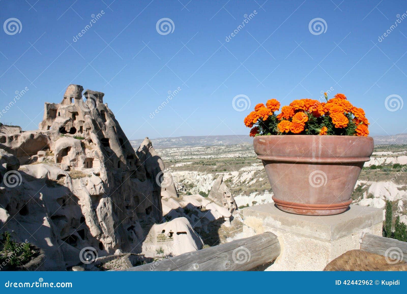 Cuevas de Cappadocia y las flores