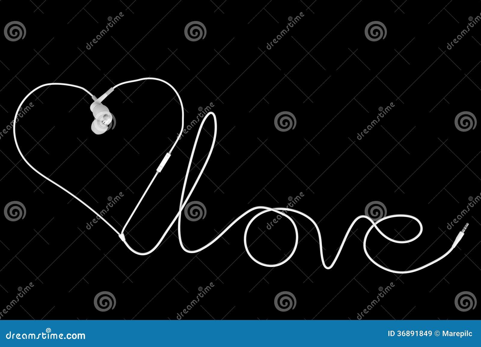 Download Cuffie di amore immagine stock. Immagine di creativo - 36891849