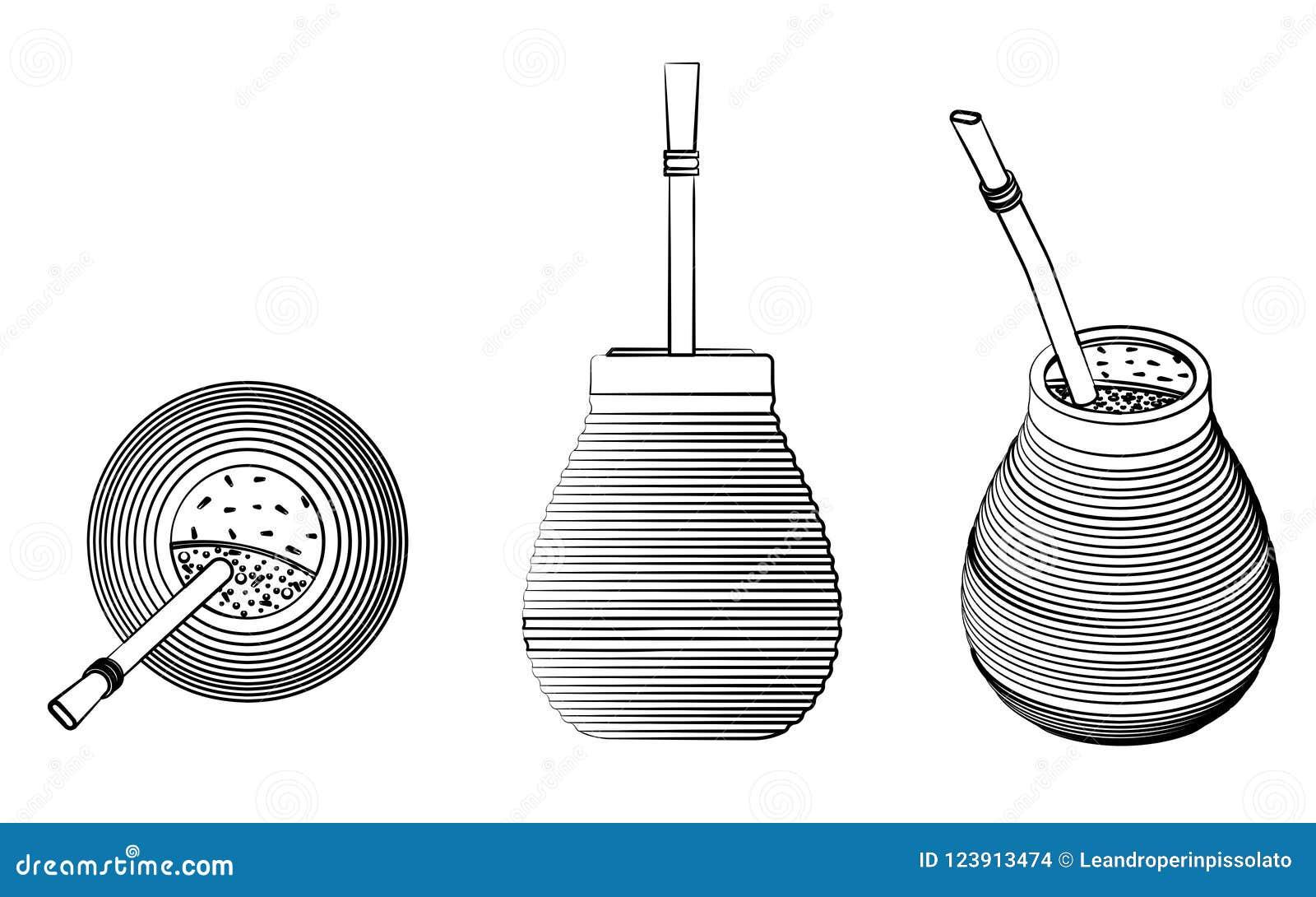 Cuia avec Bombilia, l eau et Yerba joignent pour le terere Le contour différent aiment des traçages