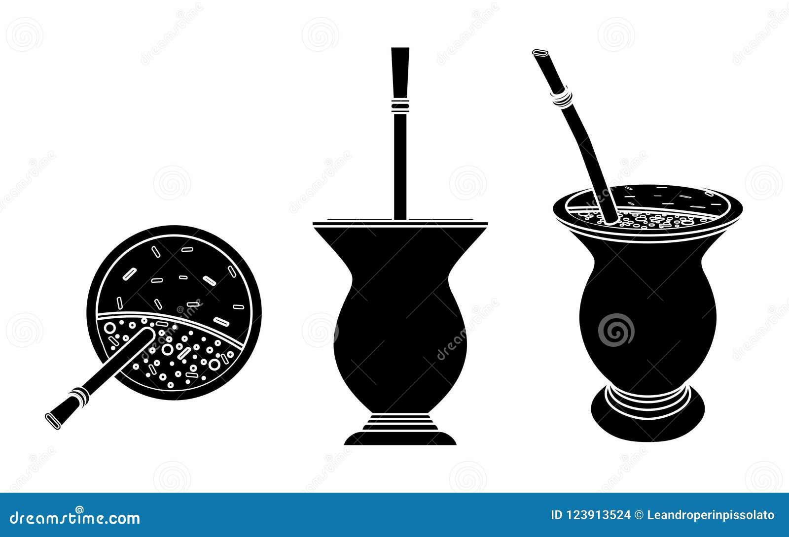 Cuia con el compañero, agua y Bombilia de Yerba Terraplén negro