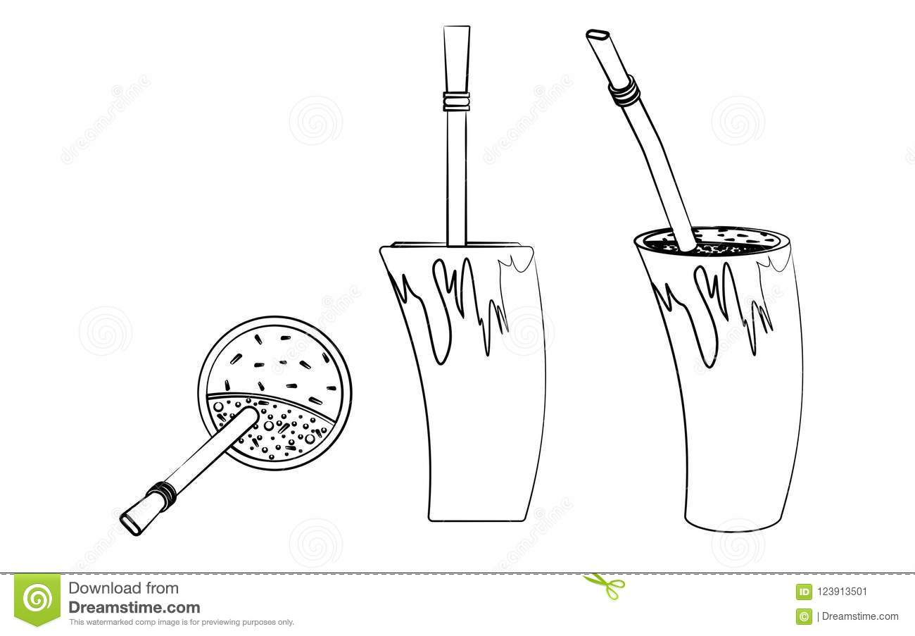 Cuia With Water Bombilia And Yerba Mate For Terere Horn