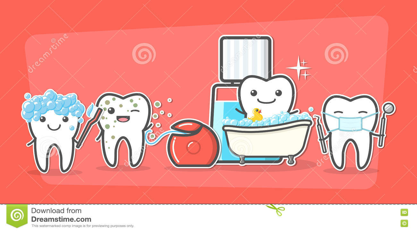 Cuidado de los dientes de la historieta y concepto de la higiene