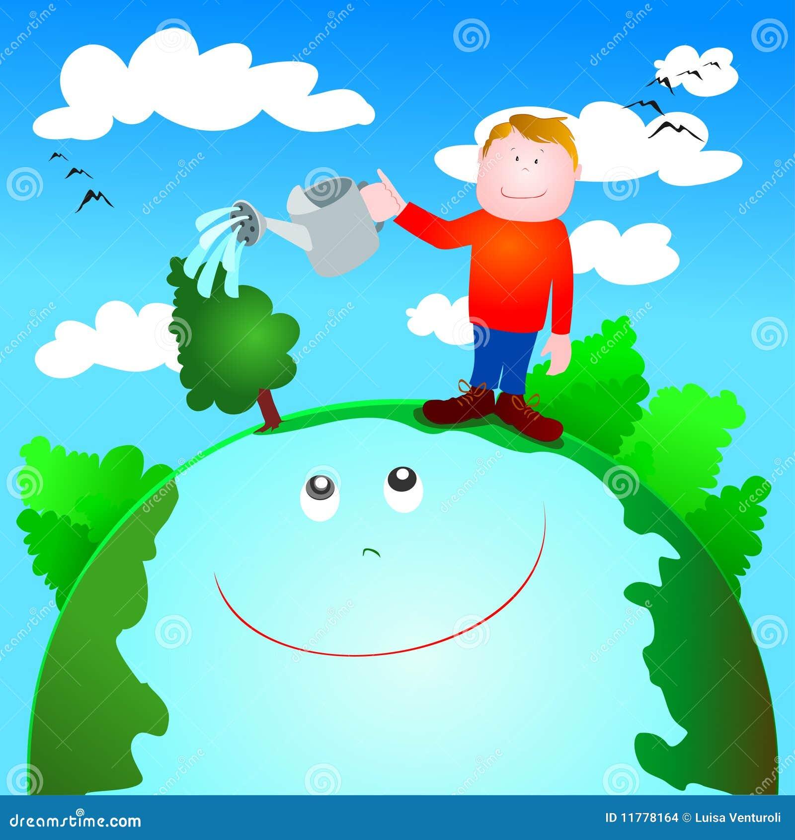 Cuidado Verde Y Protección Del Medio Ambiente Ilustración