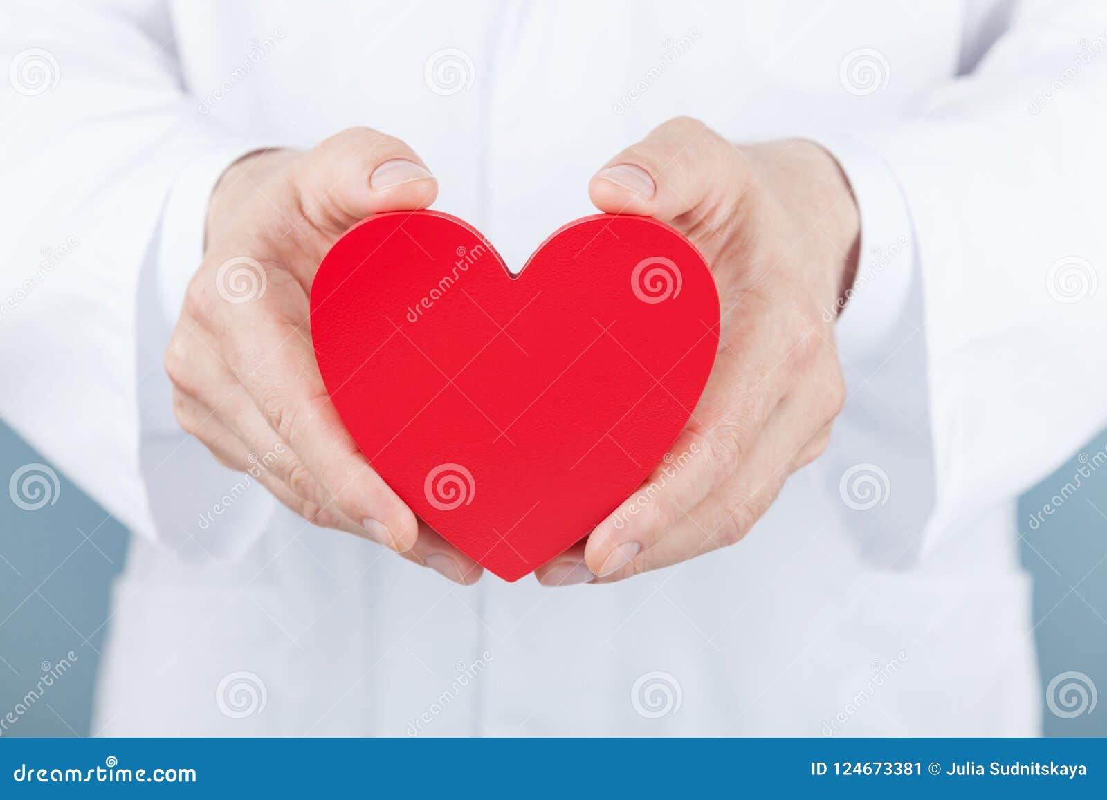 Cuide al cardiólogo que lleva a cabo un corazón en sus manos Cardiología y concepto de la enfermedad cardíaca