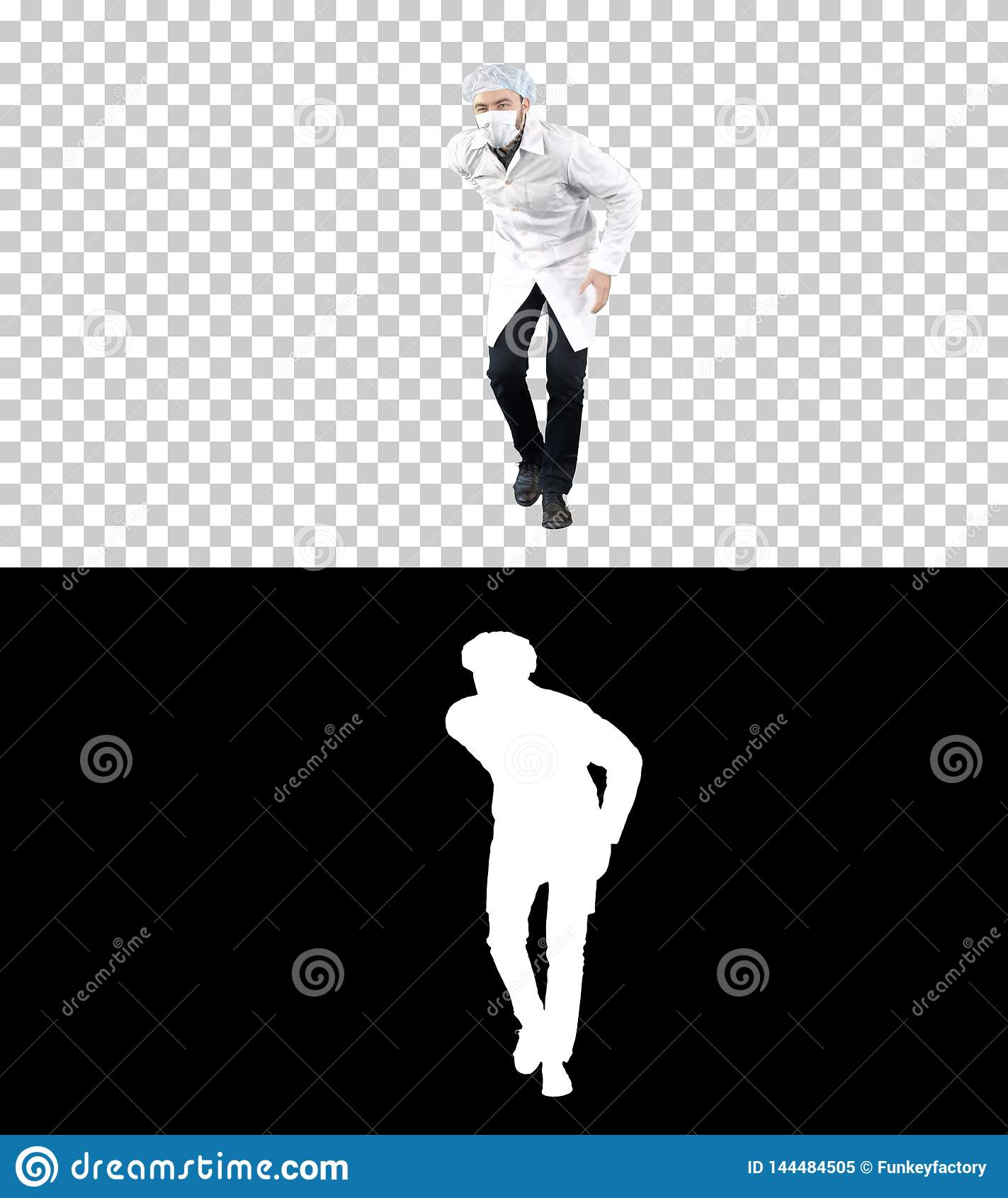 Cuide llevar su uniforme y llevar una máscara que él está caminando de una manera divertida, Alpha Channel