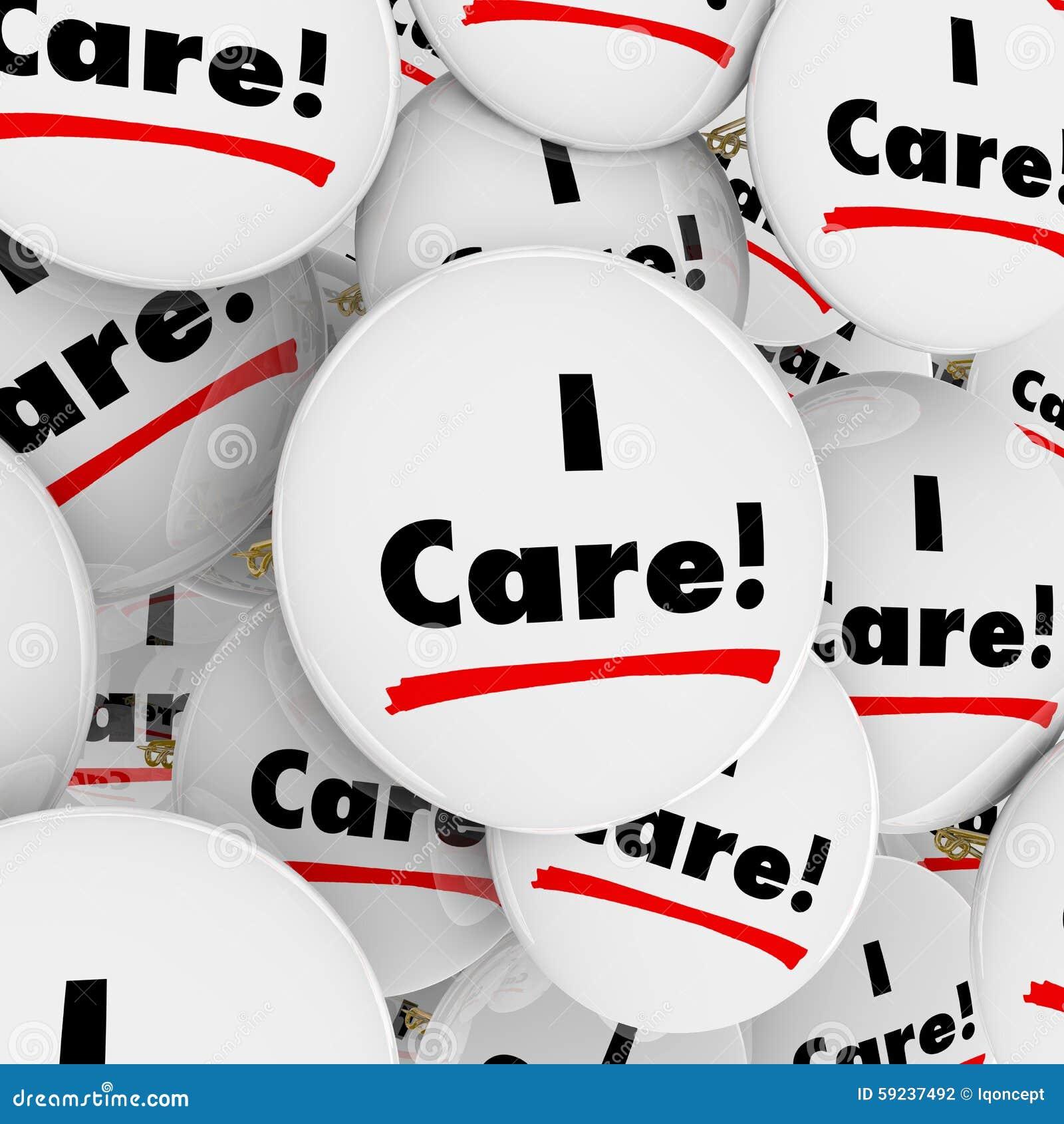 Cuido el botón de las palabras que cuida a trabajadores útiles compasivos de la gente