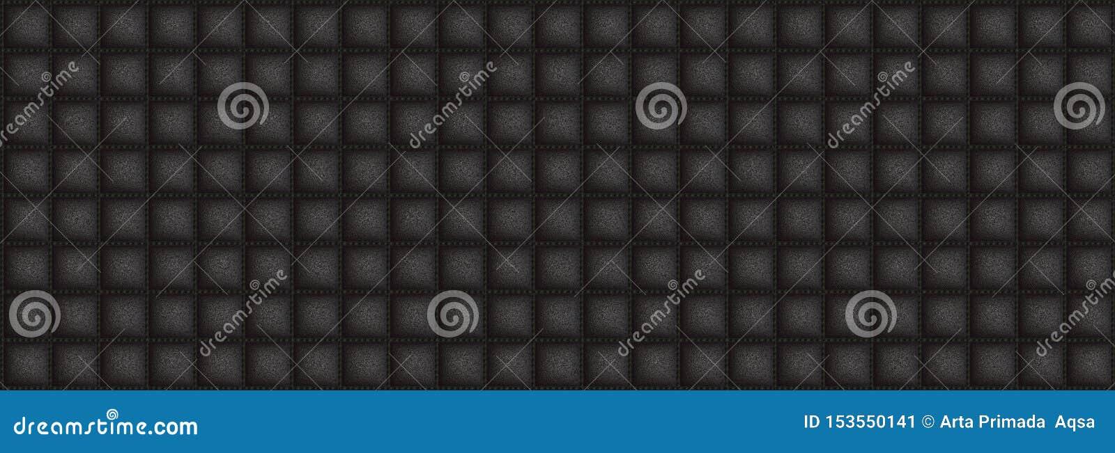 Cuir carré de texture avec la couleur noire de DOF