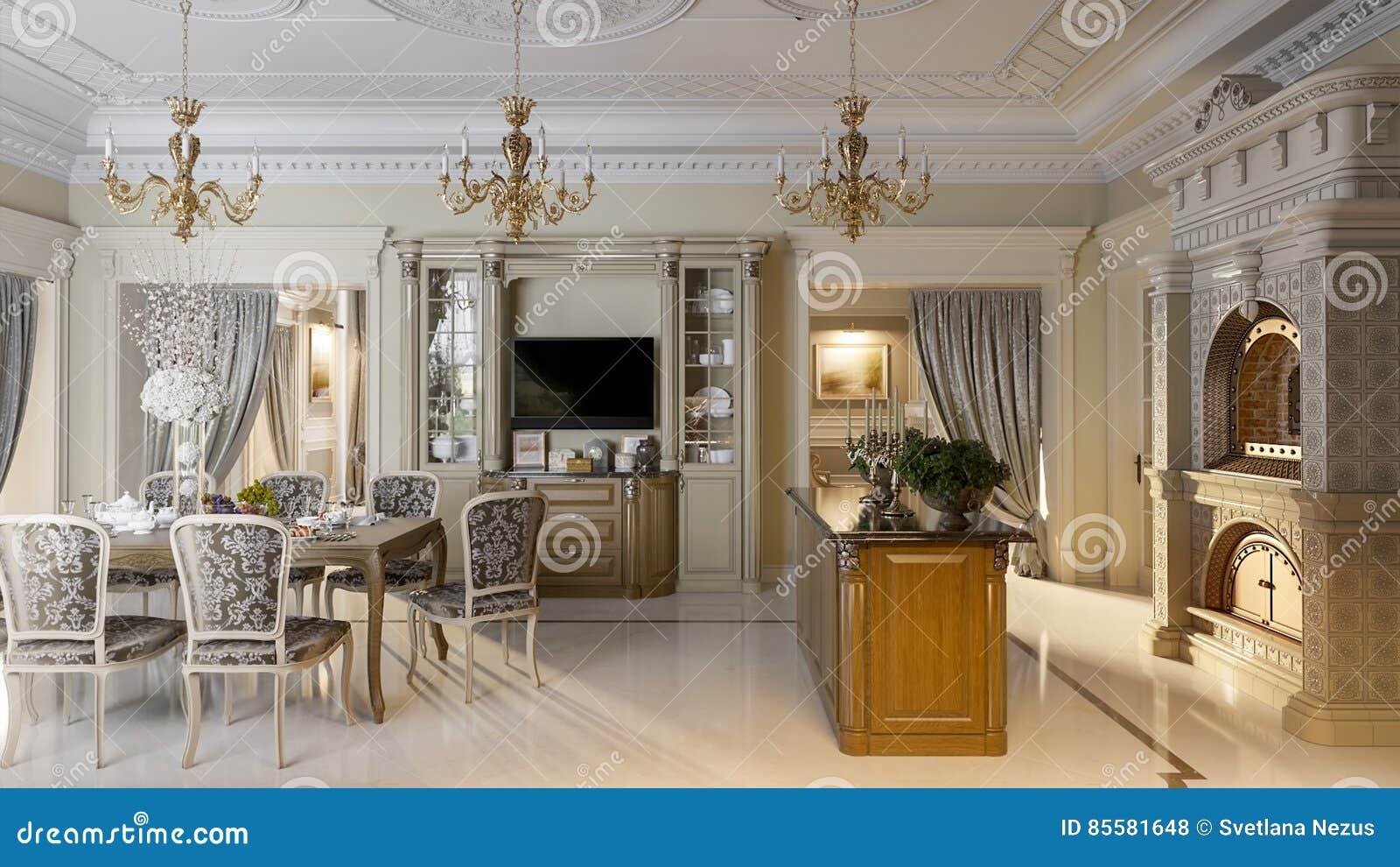 cuisine baroque luxueuse et salle manger illustration stock illustration du chocolat. Black Bedroom Furniture Sets. Home Design Ideas