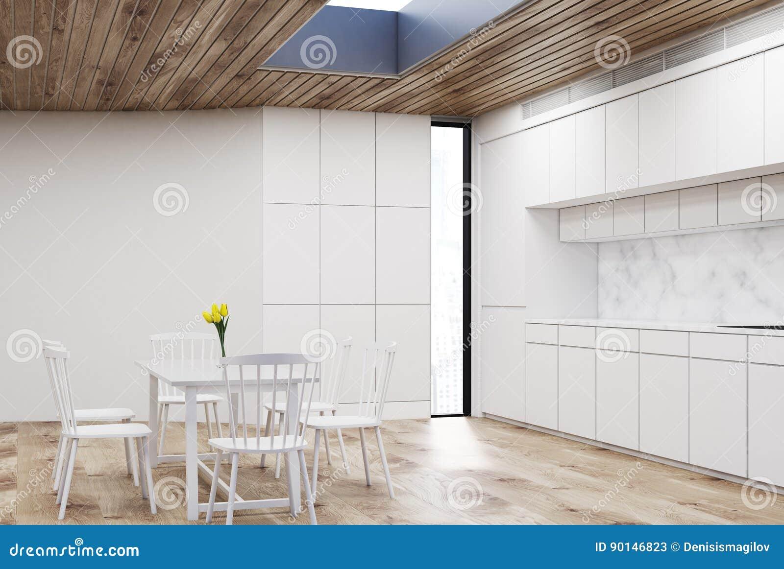Cuisine Blanche Avec La Table Ronde Bois Illustration Stock