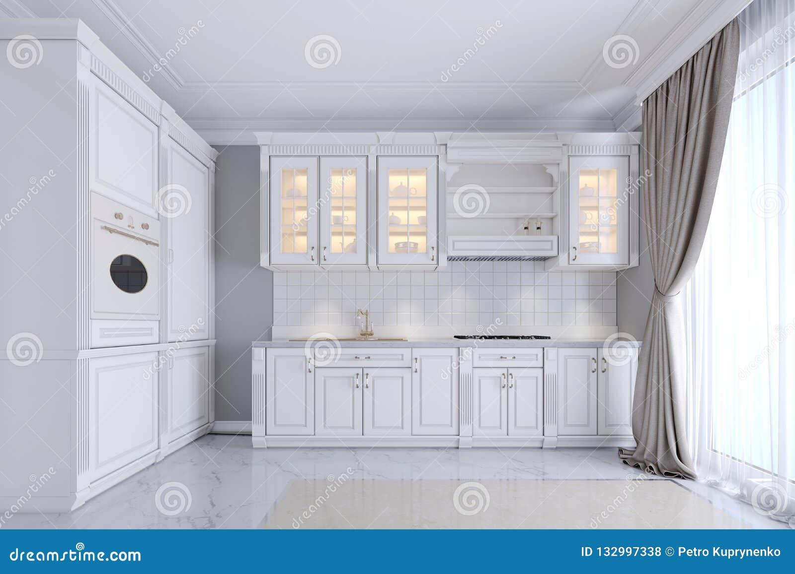 Cuisine Blanche Mur Coloré cuisine blanche dans un style classique, intérieur modernes