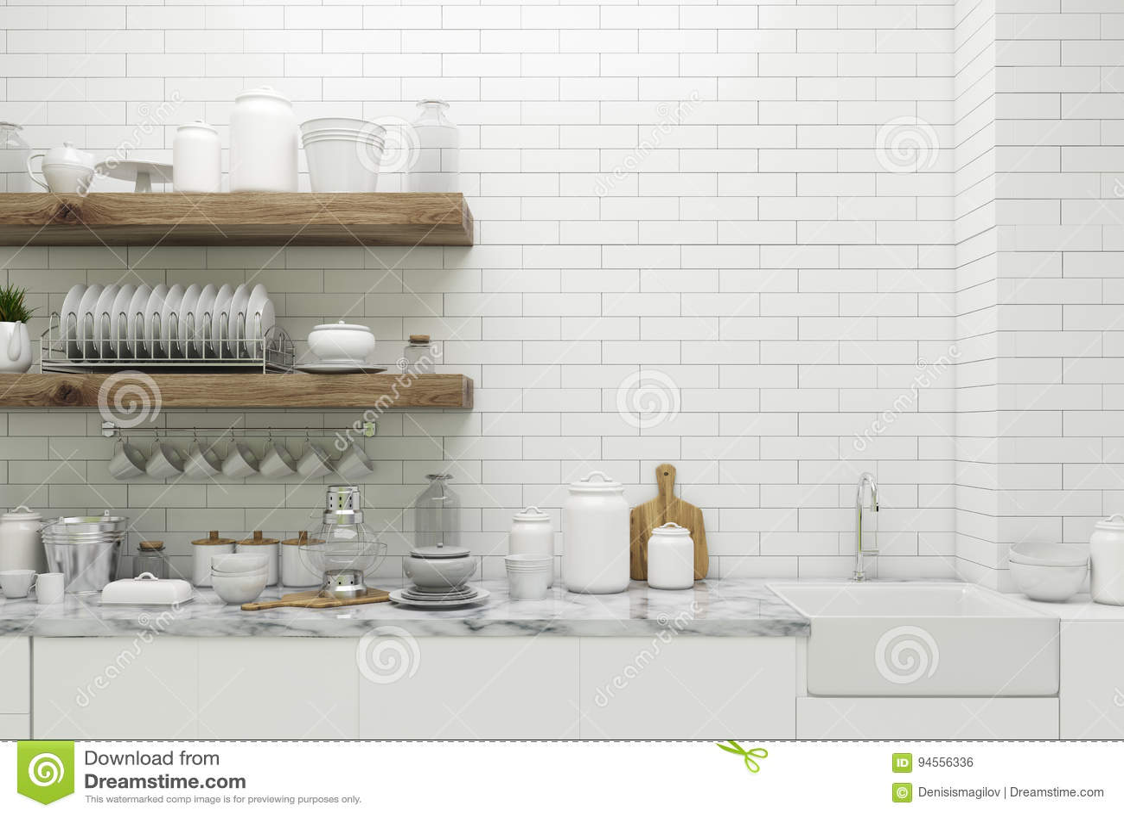 Cuisine Blanche De Brique Avec Des étagères Illustration Stock ...