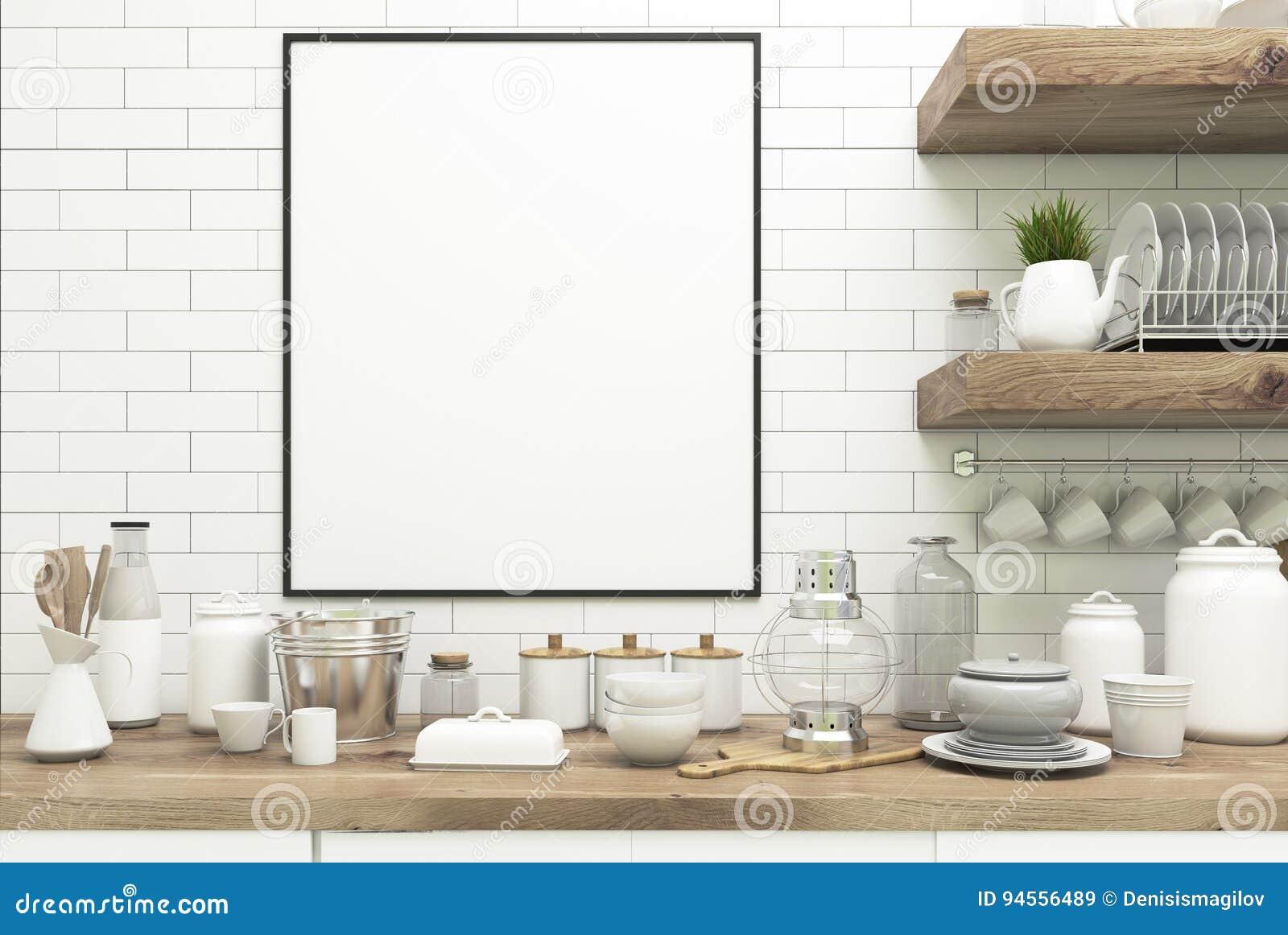 Cuisine Blanche De Brique Avec L\'affiche, étagères ...