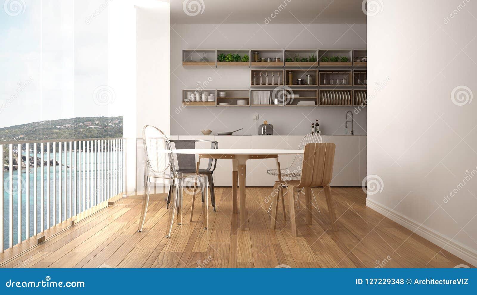 cuisine blanche et en bois minimaliste avec la table de. Black Bedroom Furniture Sets. Home Design Ideas