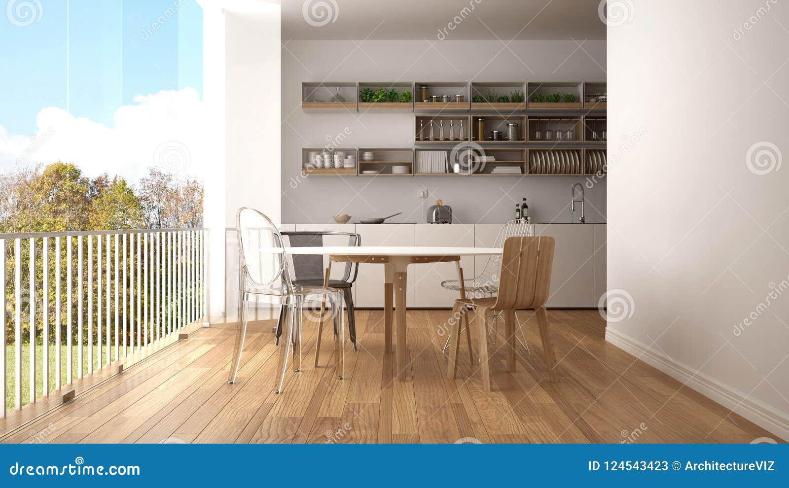 Cuisine Blanche Et Bleu cuisine blanche et en bois minimaliste avec la table de