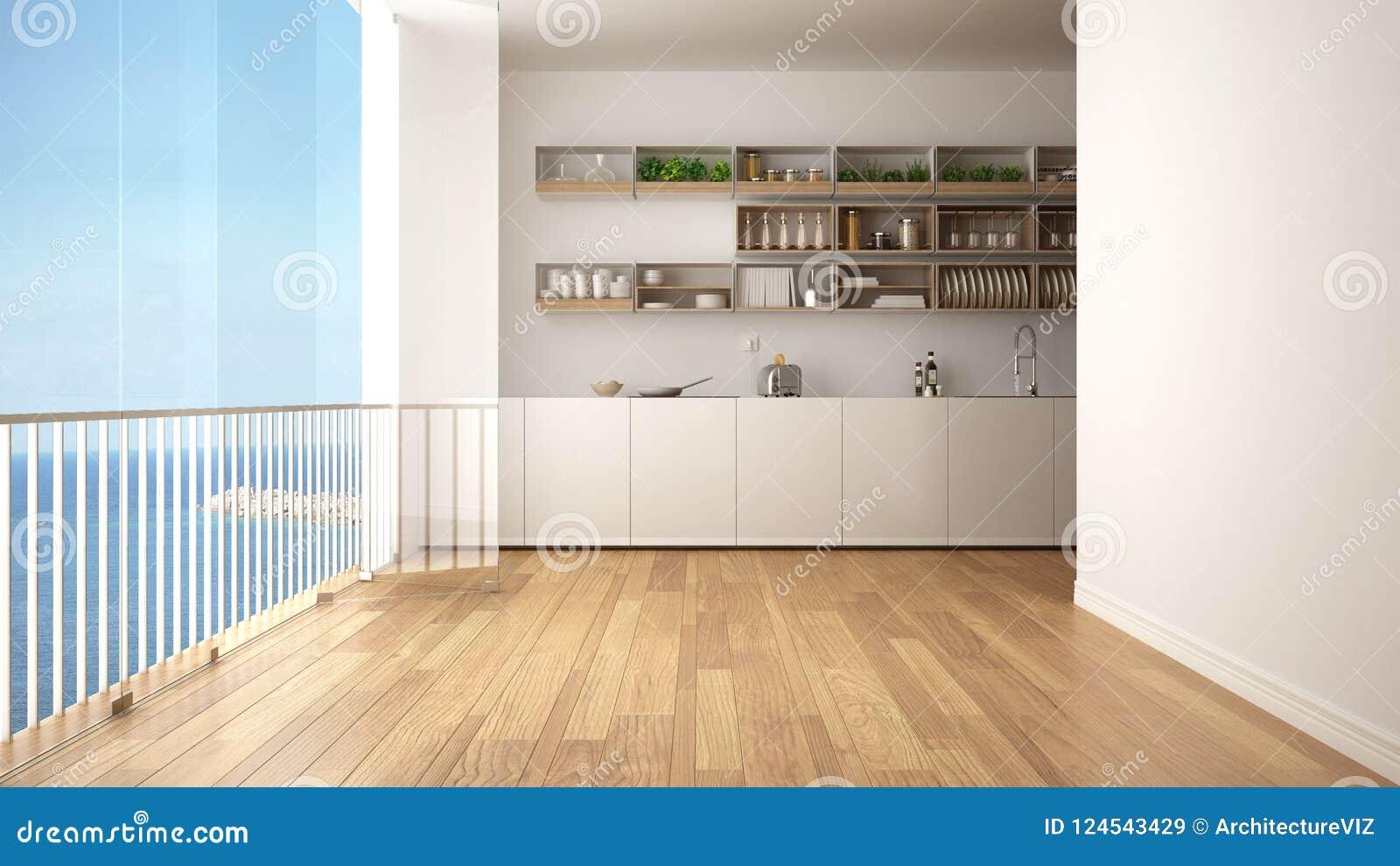 Cuisine blanche et en bois minimaliste avec le plancher de parquet et la grande fenêtre panoramique Panorama d océan de mer avec