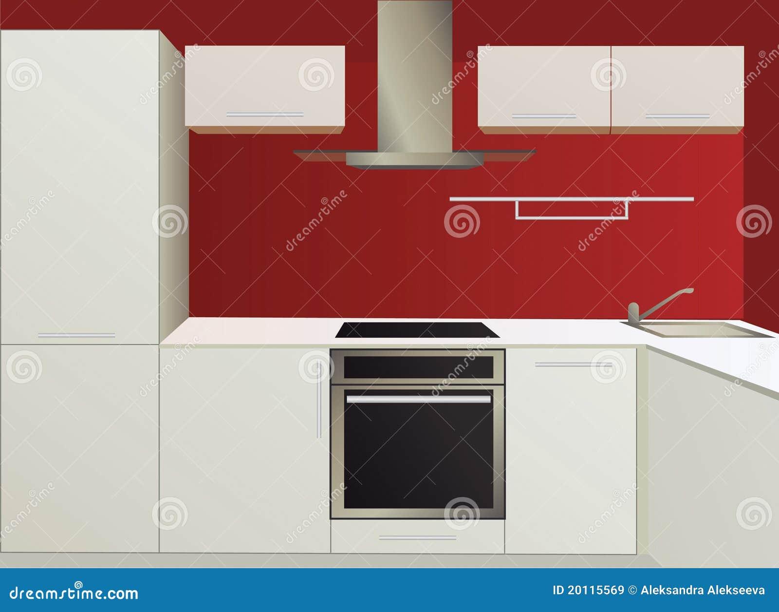 Cuisine blanche et rouge avec des appareils électroménagers images ...