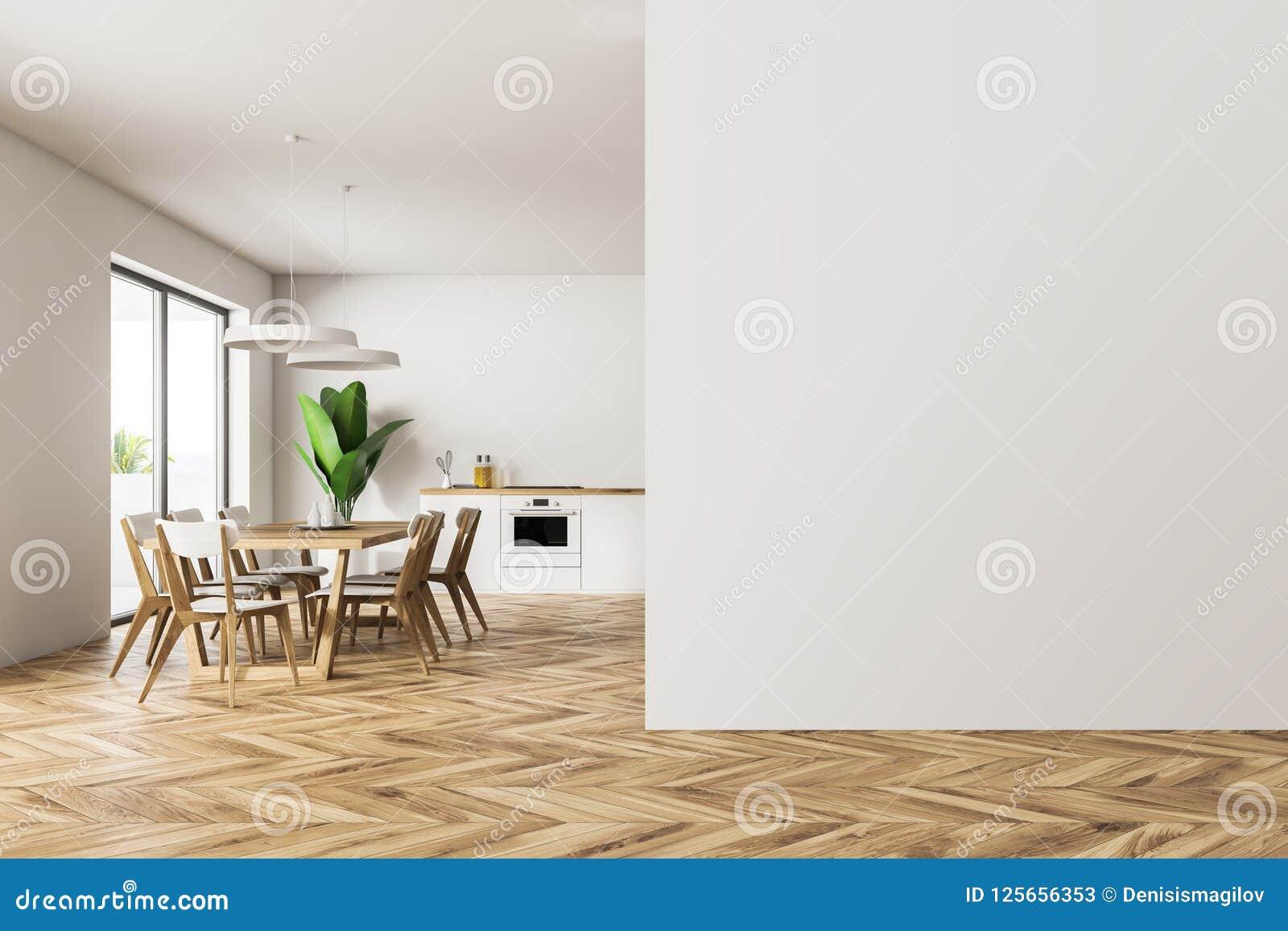 Cuisine Blanche Et Salle A Manger Interieures Mur Vide