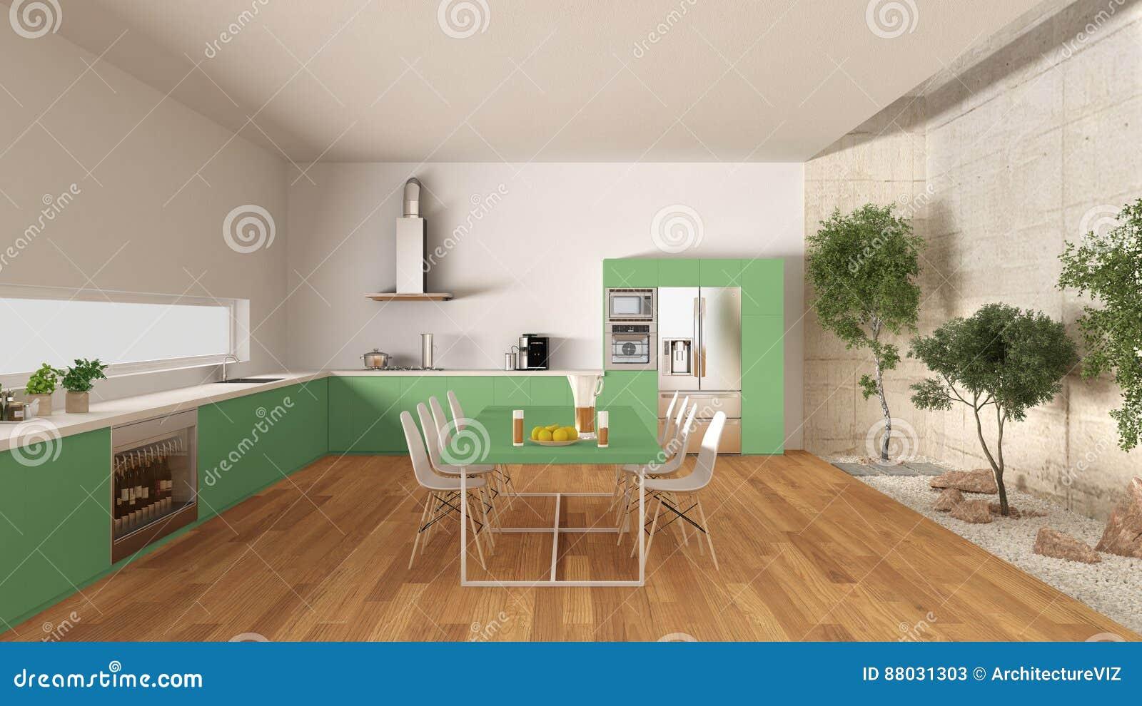 download cuisine blanche et verte avec le jardin intrieur desi intrieur minimal illustration stock