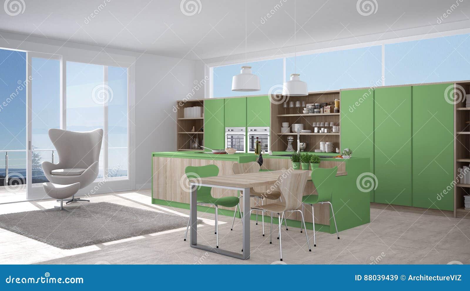 cuisine blanche et verte moderne avec les dtails en bois grande fentre w