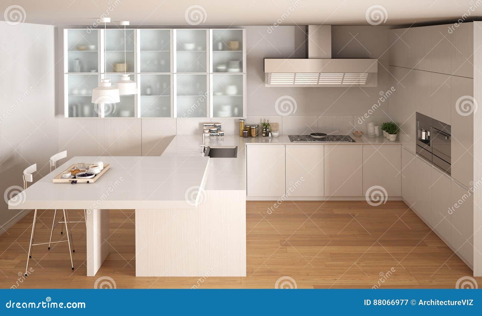 Cuisine blanche minimale classique avec le plancher de parquet interio moderne illustration for Cuisine blanche classique