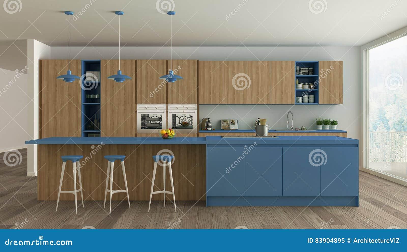 Cuisine Blanche Et Bleu cuisine blanche scandinave avec les détails en bois et bleus