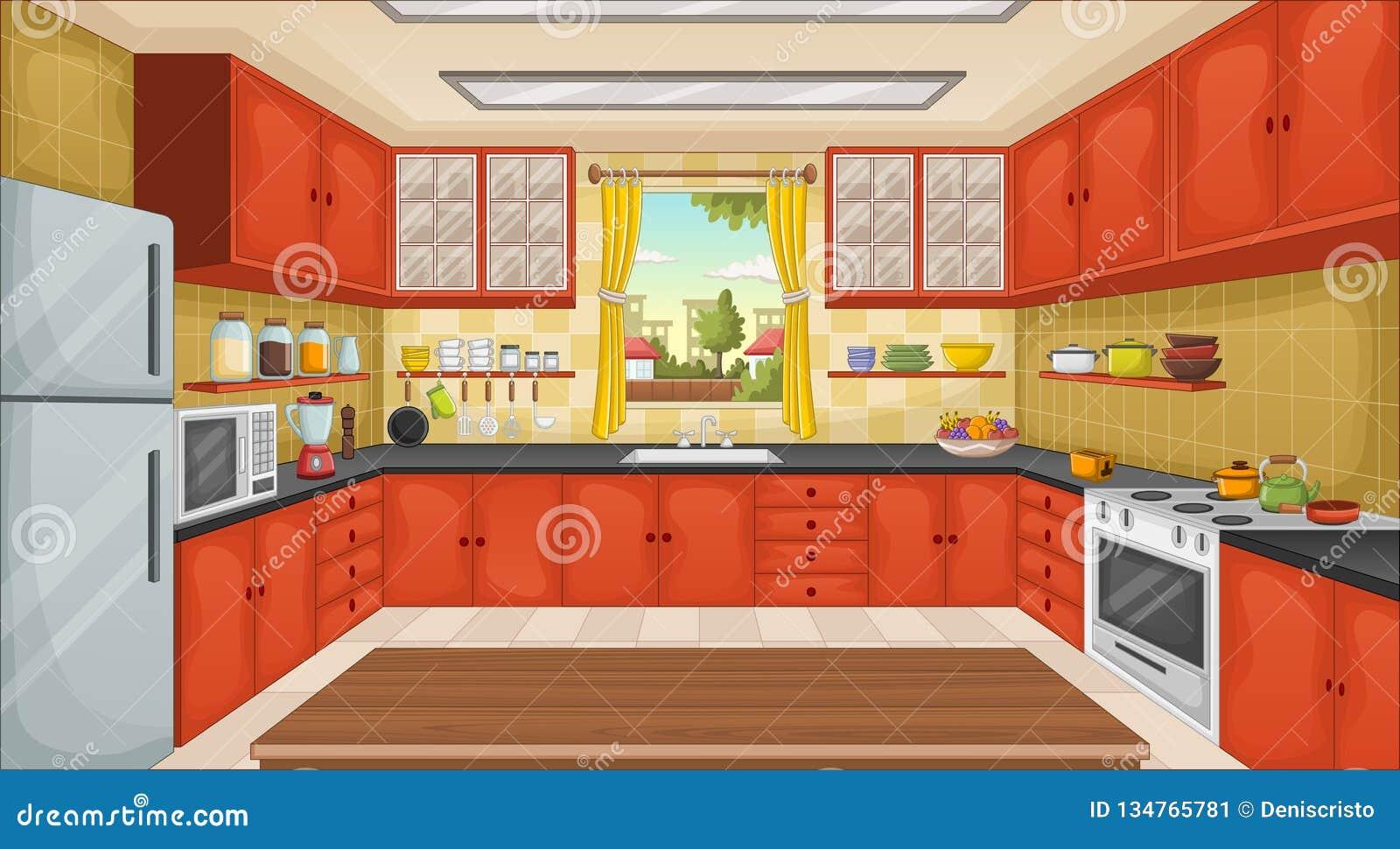Cuisine Colorée Avec Des Ustensiles Chambre Dans La Banlieue ...