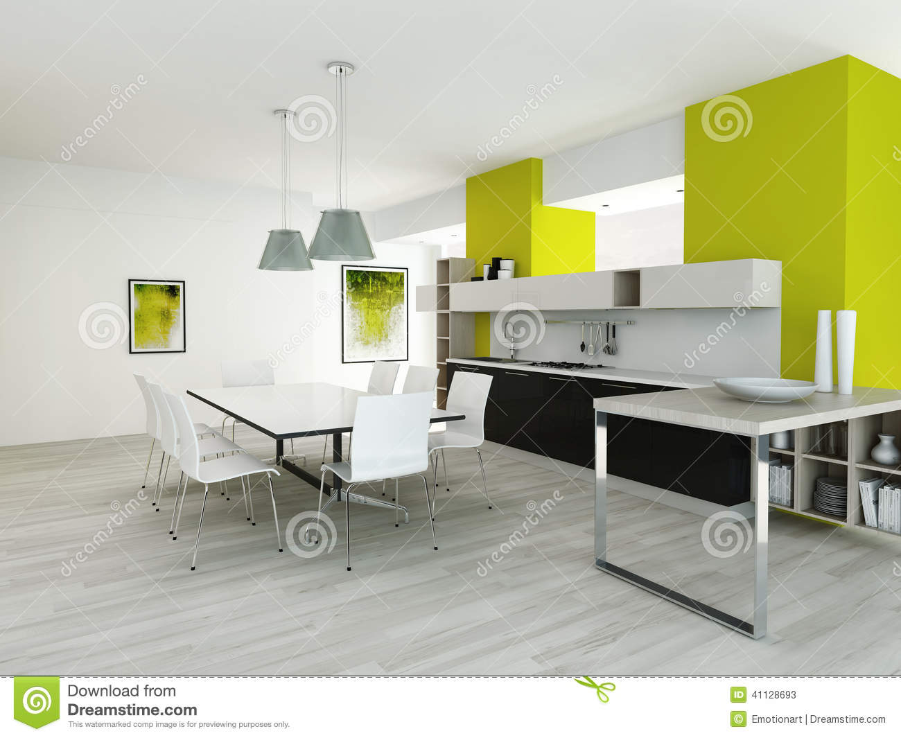 cuisine color e par vert moderne int rieure illustration stock image 41128693. Black Bedroom Furniture Sets. Home Design Ideas