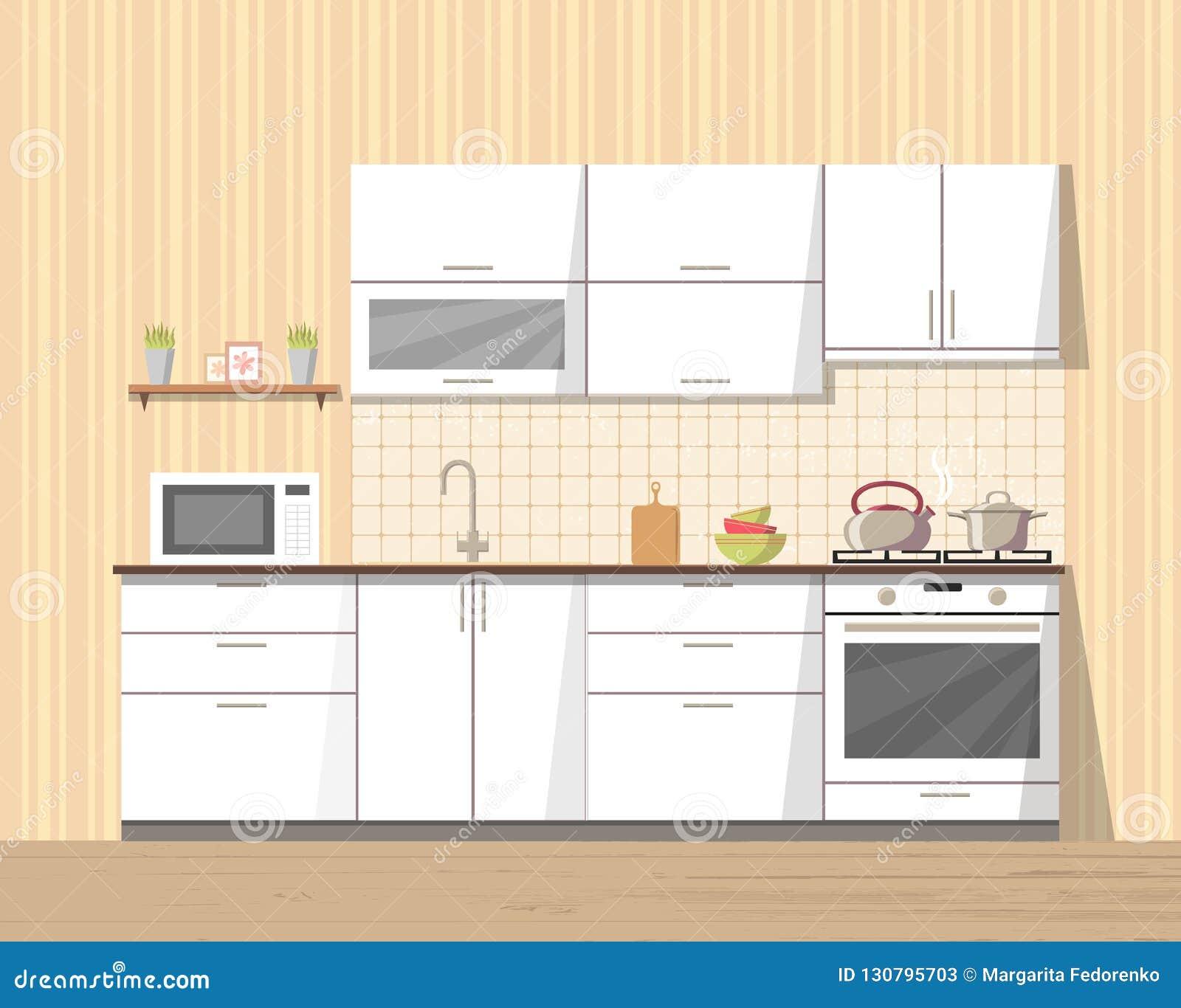 Meuble Cuisine Four Et Micro Onde cuisine confortable intérieure avec des meubles et l