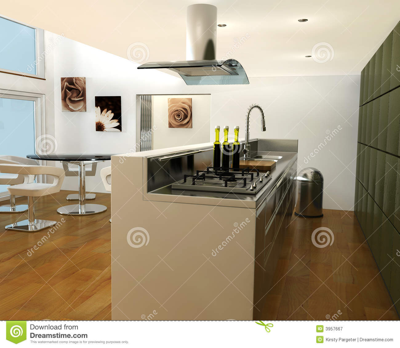Cuisine contemporaine photographie stock libre de droits for Cuisine 3d plus