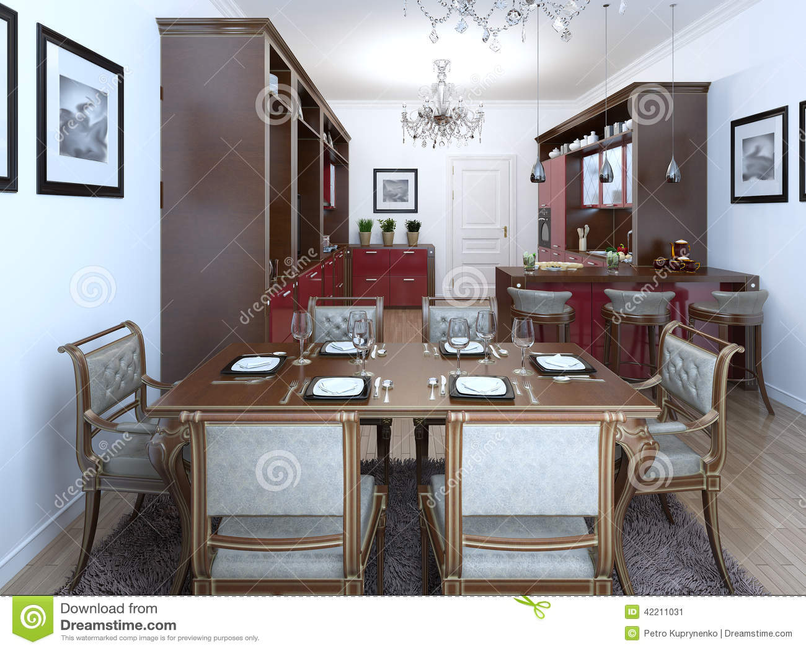 cuisine dans le style d 39 art deco illustration stock illustration du confortable famille 42211031. Black Bedroom Furniture Sets. Home Design Ideas