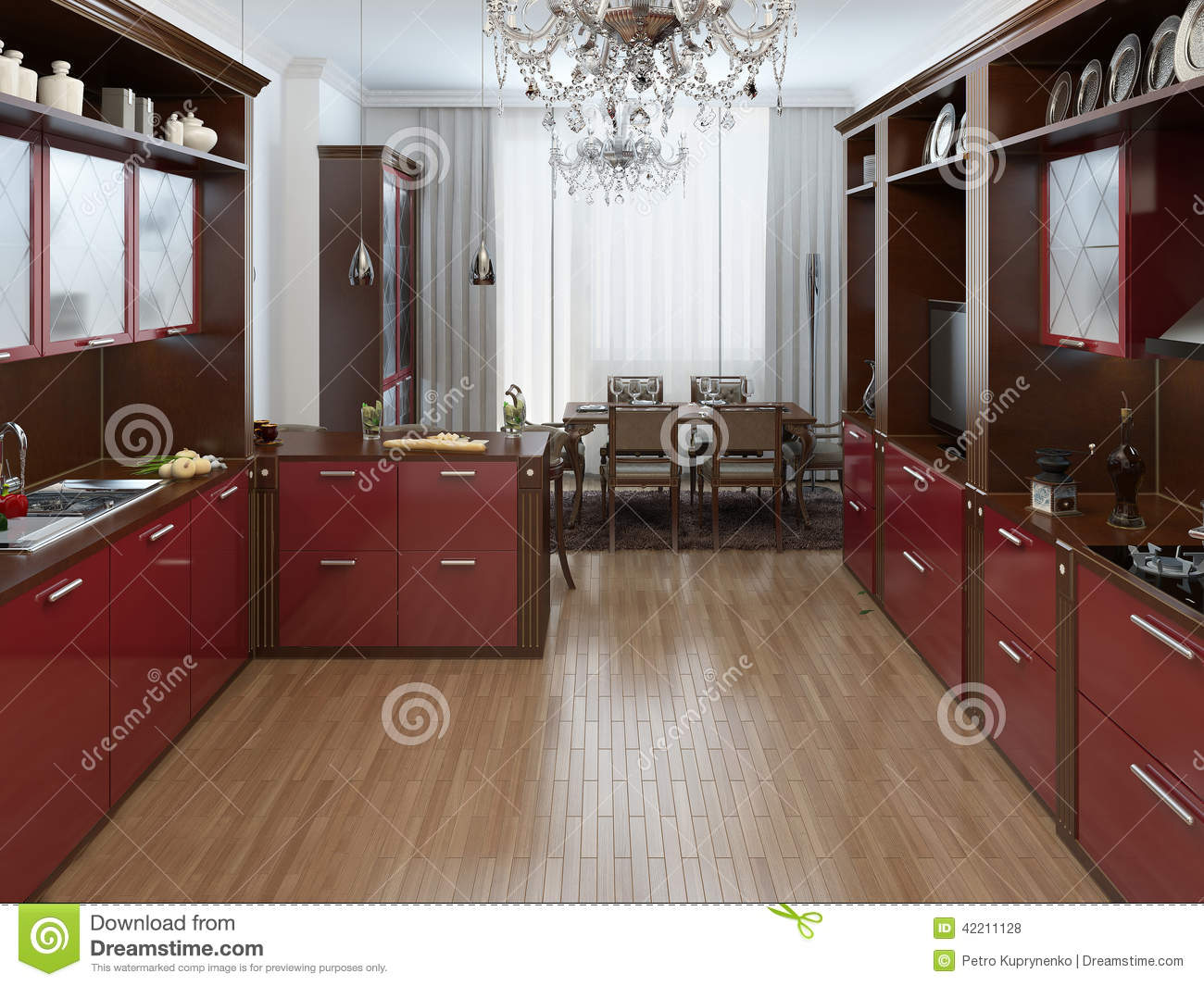 cuisine dans le style d 39 art deco illustration stock image 42211128. Black Bedroom Furniture Sets. Home Design Ideas