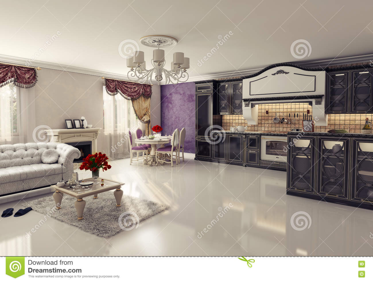 cuisine de luxe illustration stock illustration du contemporain 23841357. Black Bedroom Furniture Sets. Home Design Ideas
