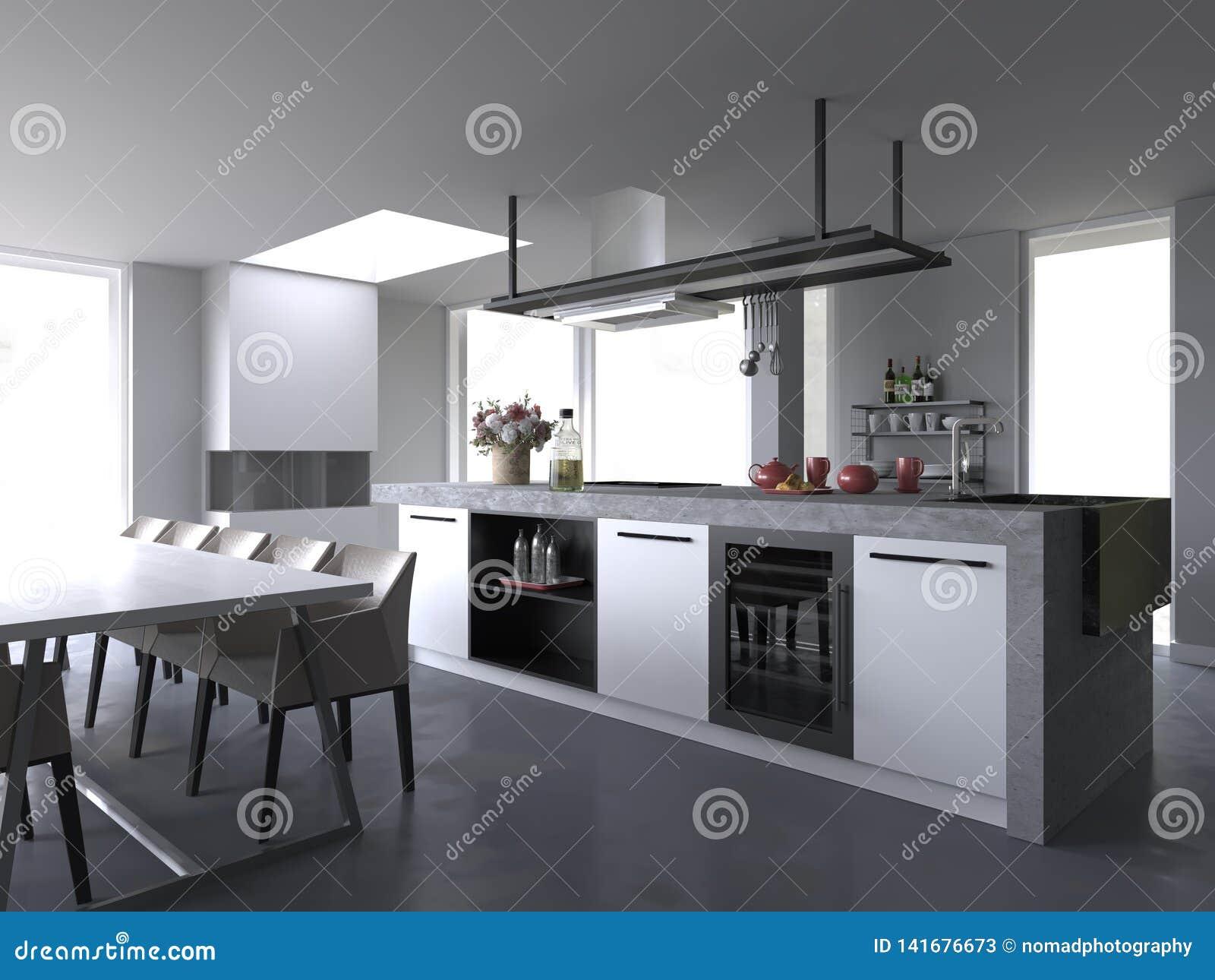 Cuisine De Luxe Moderne Blanche Intérieure Sans Fond Illustration