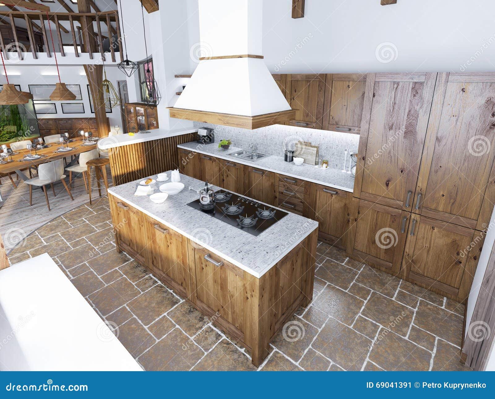 Cuisine De Luxe Moderne Dans Un Style De Grenier Image stock ...