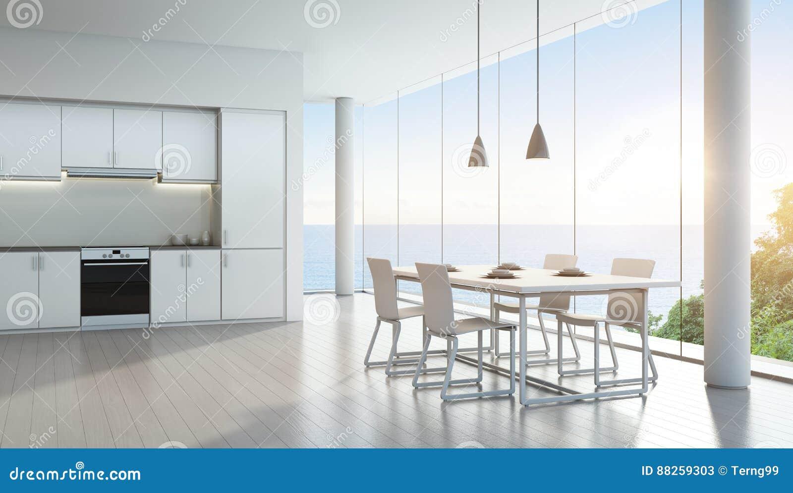 Cuisine de vue de mer et salle manger dans la maison de for Conceptions et prix de la maison