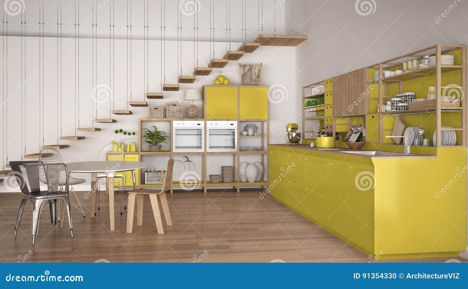 Cuisine En Bois Blanche Et Jaune Minimaliste, Grenier Avec Des Escaliers, Cl