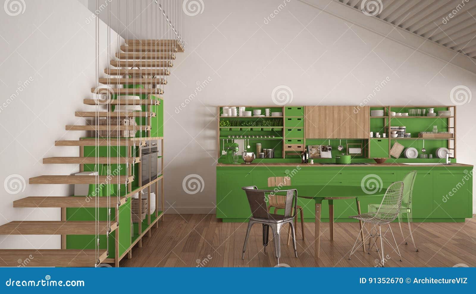 cuisine en bois blanche et verte minimaliste, grenier avec des