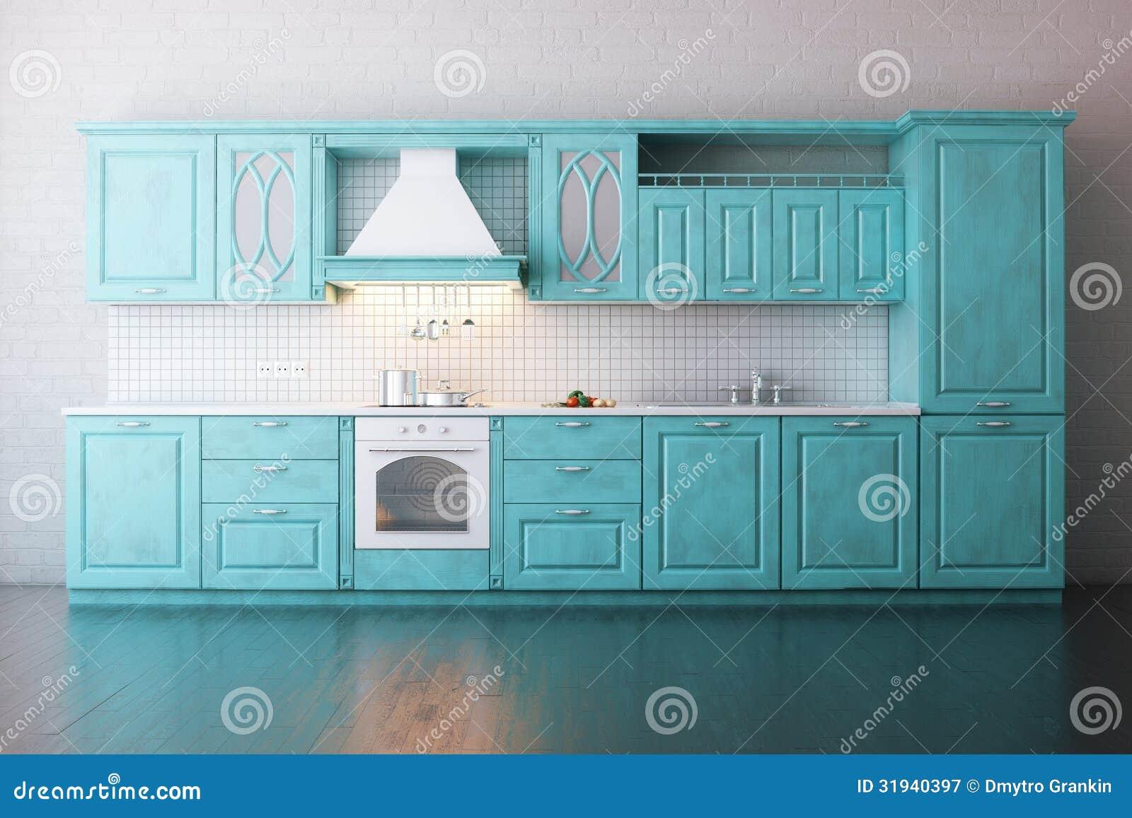 cuisine en bois classique peinte en turquoise illustration