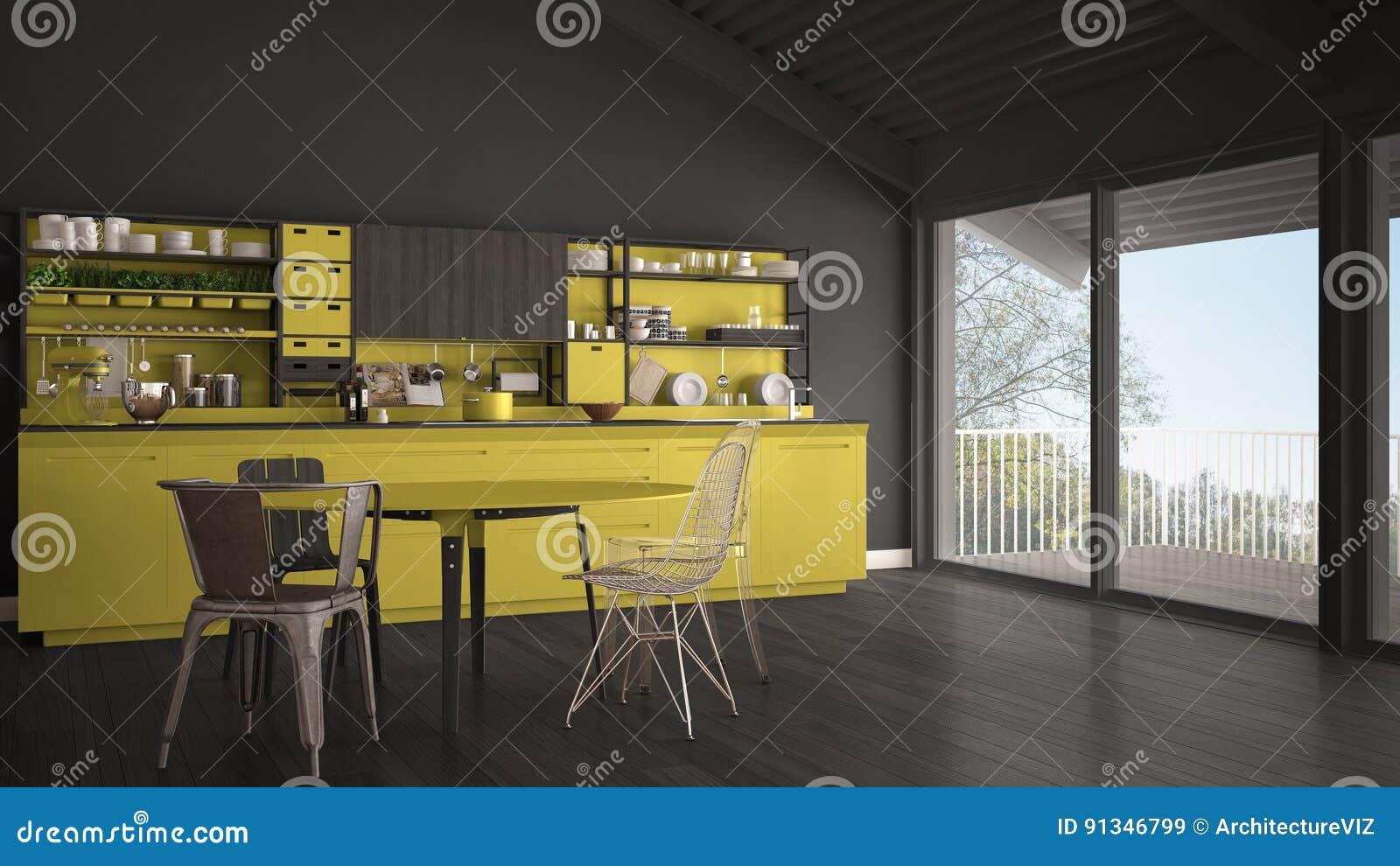 Cuisine En Bois Grise Et Jaune Minimaliste Grande Fenêtre