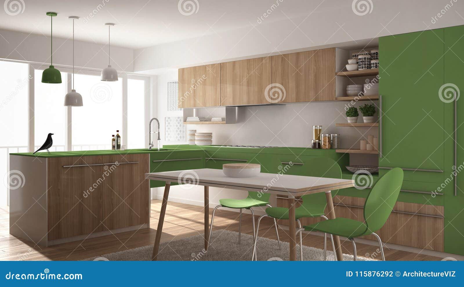 Cuisine En Bois Minimalistic Moderne Avec La Table De Salle A Manger