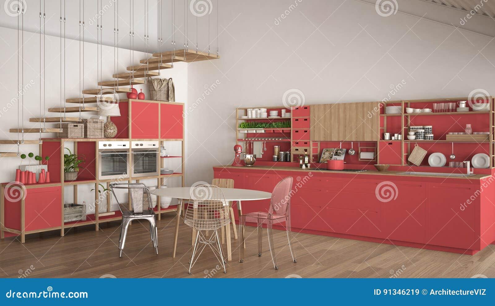 Cuisine En Bois Rouge Et Blanche Minimaliste, Grenier Avec ...