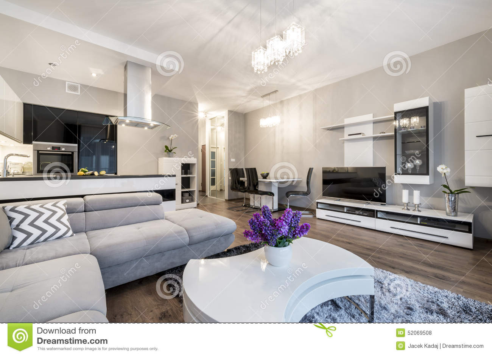 cuisine et salon dans la maison de luxe photo stock image 52069508. Black Bedroom Furniture Sets. Home Design Ideas