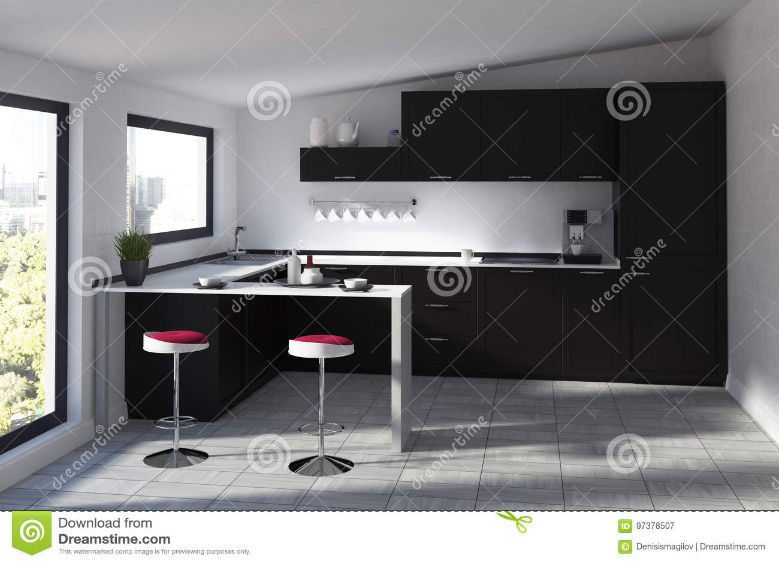 Cuisine Futuriste Avec Une Barre Noire Illustration Stock