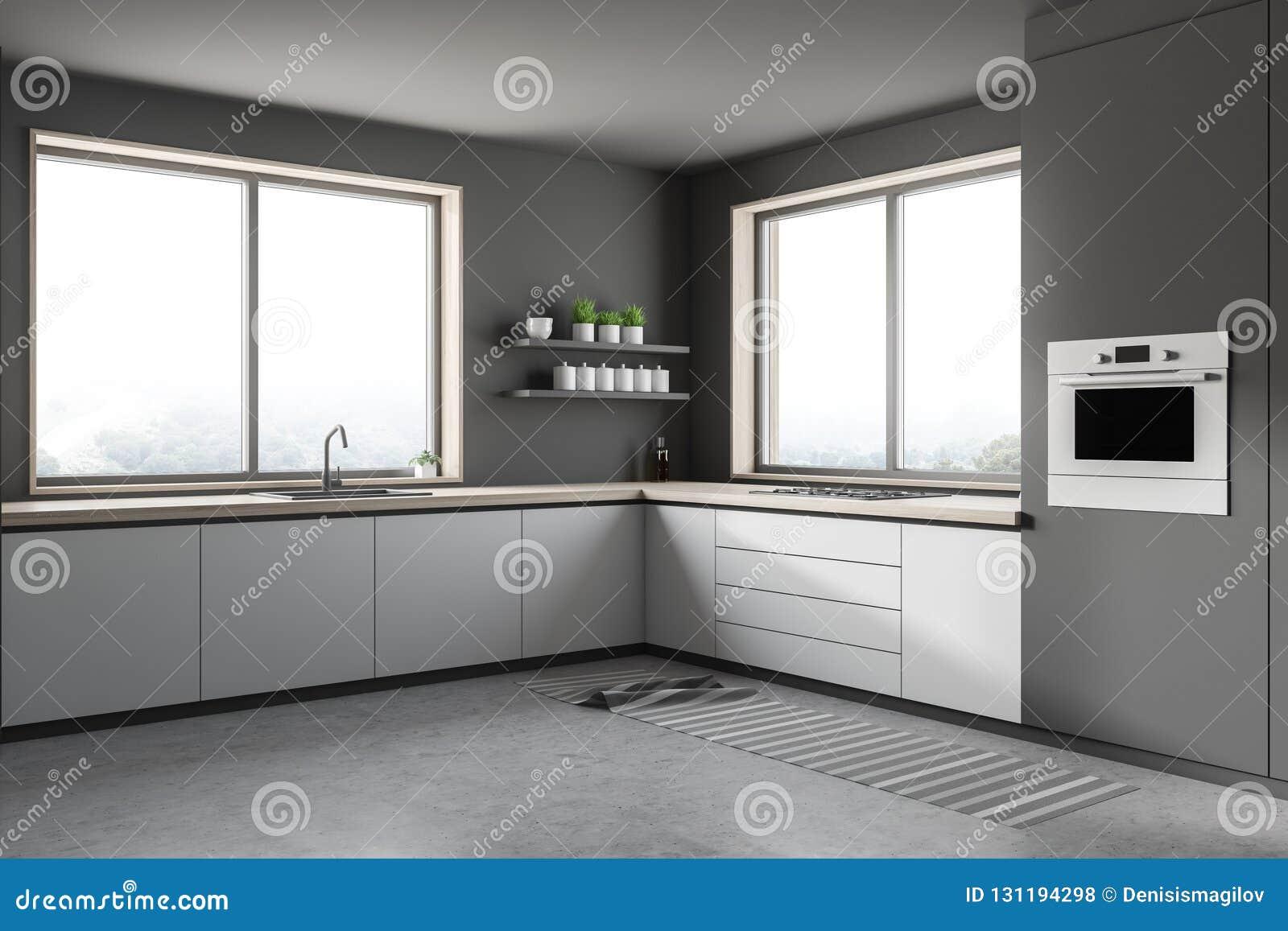 Cuisine Grise Avec Le Coin Blanc De Compteurs Illustration ...