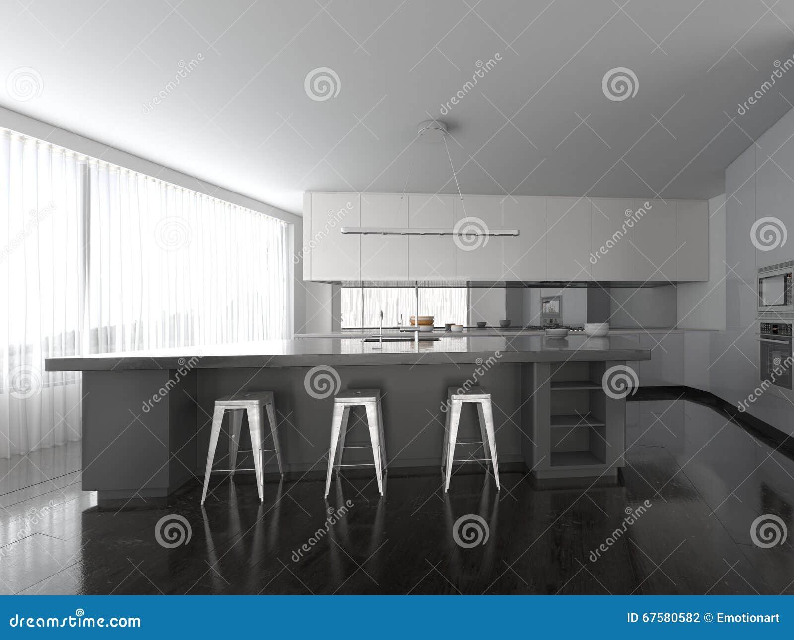Cuisine grise d'ouvert plan spacieux et blanche moderne ...