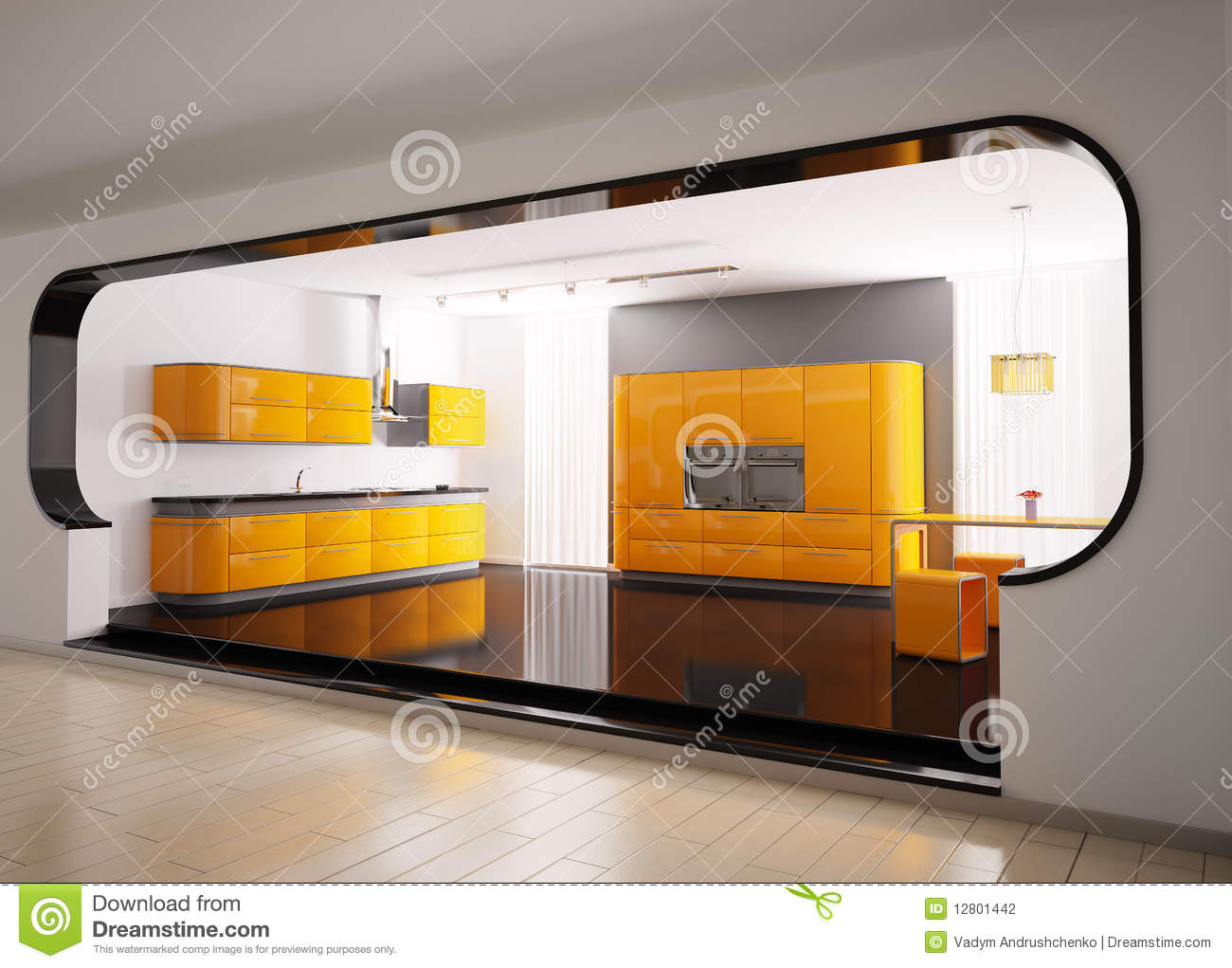 cuisine grise orange 3d illustration stock image du rideau 12801442. Black Bedroom Furniture Sets. Home Design Ideas