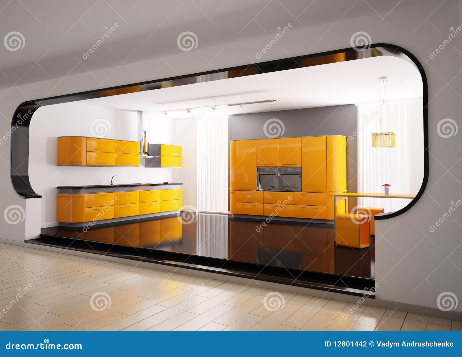 cuisine grise orange 3d photographie stock image 12801442. Black Bedroom Furniture Sets. Home Design Ideas