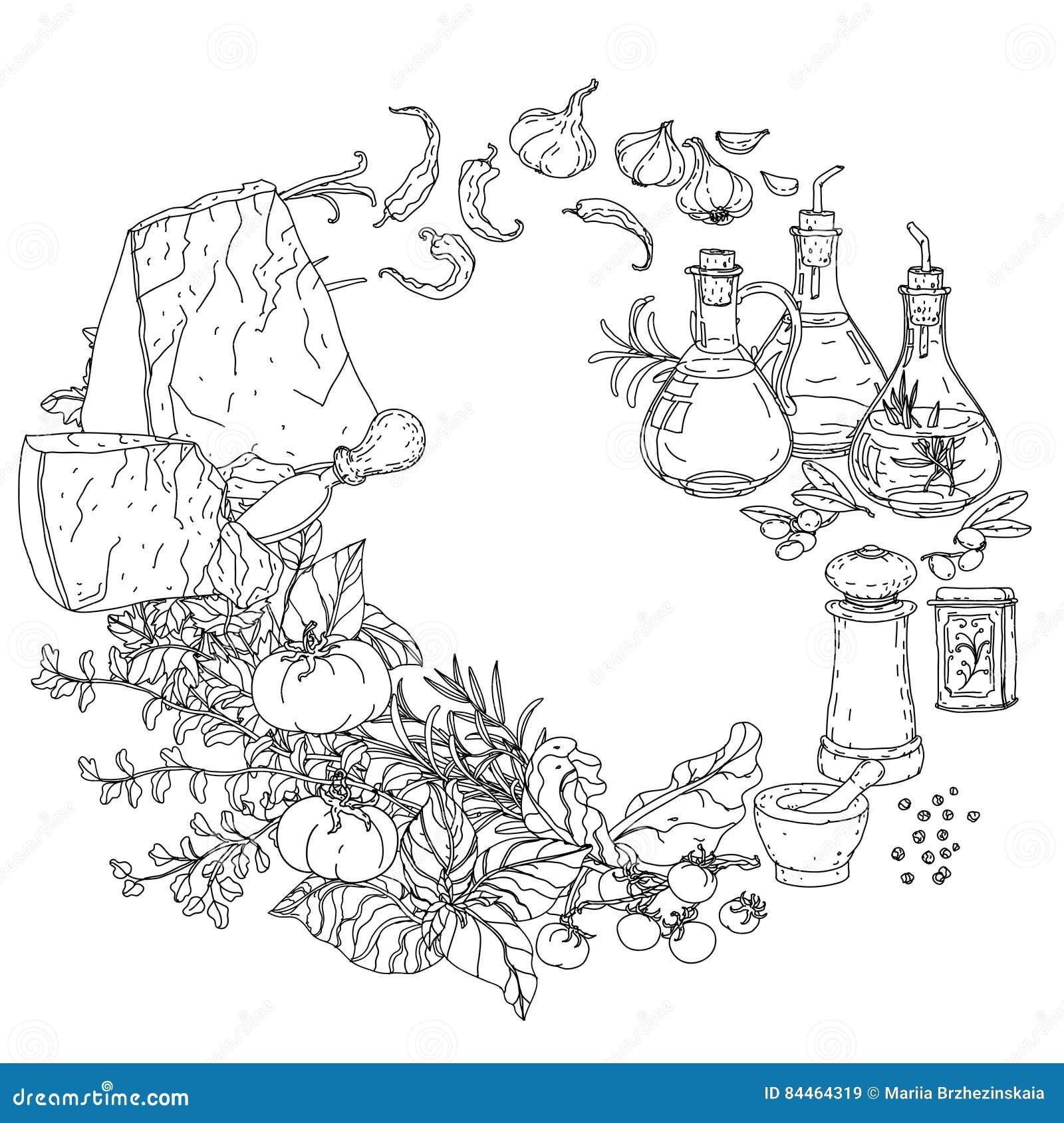 Cuisine Italienne Pour Livre De Coloriage Illustration De