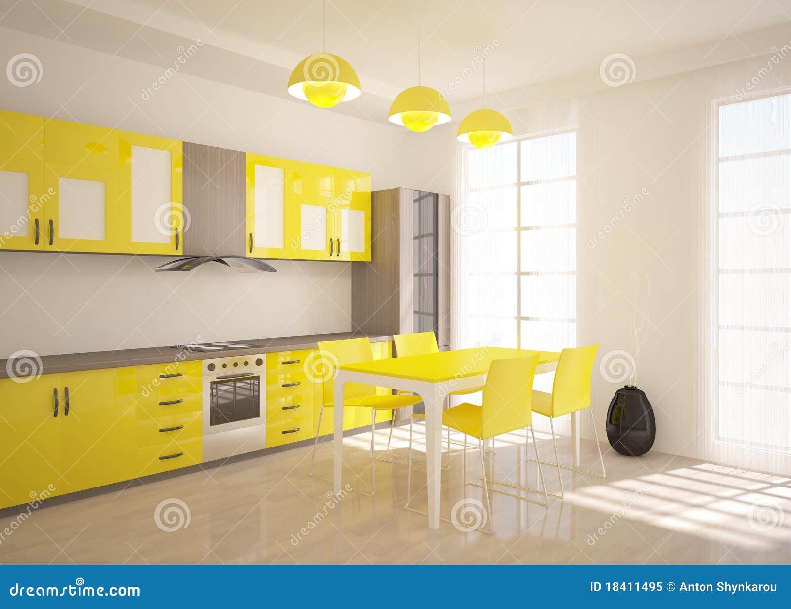 Cuisine jaune illustration stock image du rendez l gant for Meuble de cuisine jaune